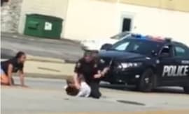 A stillshot from crazy arrest footage in Euclid, Ohio.