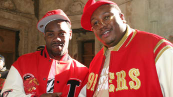 """Keak Da Sneak and E-40 on the set of the 2006 music video shoot for """"Tell Me When To Go"""" in Oakland, Calif."""