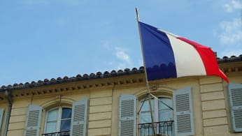 A French flag flying.