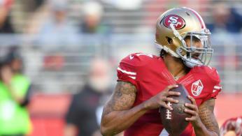 Colin Kaepernick #7 of the San Francisco 49ers drops back to pass