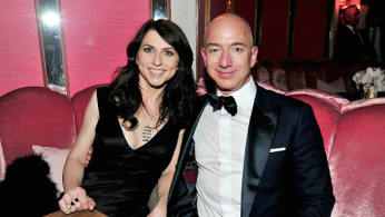 Jeff Bezos and writer MacKenzie Bezos attend the Amazon Studios Oscar Celebration