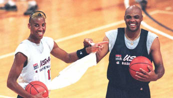 Reggie Miller Charles Barkley 1996 USA Basketball Getty