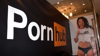 Asa Akira is dispayed at the Pornhub booth at the 2018 AVN Adult Entertainment Expo