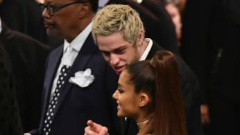 Singer Ariana Grande and her fiancee Pete Davidson attend Aretha Franklin's funeral