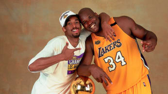 Shaquille O'Neal #34 and Kobe Bryant #8