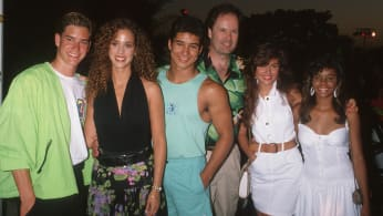 """""""Saved by the Bell"""" cast at the Century Plaza Hotel in Century City, California."""