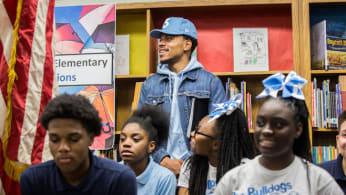 Chance the Rapper announcing his $1 million to Chicago public schools.