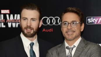 "Robert Downey Jr. and Chris Evans during the European film premiere of ""Captain America: Civil War."""