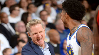 Nick Young #6 and Head Coach Steve Kerr of the Golden State Warriors.