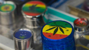 A view of small gift boxes with images of Marijuana.