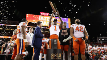 Clemson Tigers celebrates 44-16 win over the Alabama Crimson Tide.
