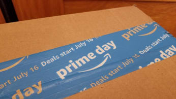 Close-up of packaging advertising Amazon Prime Day 2018.