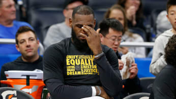 LeBron James reacts from the bench during a game against the Magic.