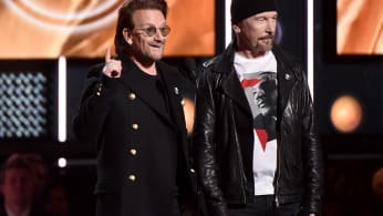 Bono and Edge at the 60th Annual Grammy Awards