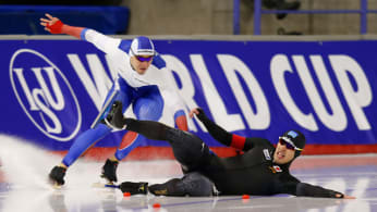 Russian skater falls during World Cup Speed Skating event