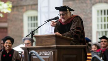 Robert Deniro at the lectern for a commencement speech at Brown University.