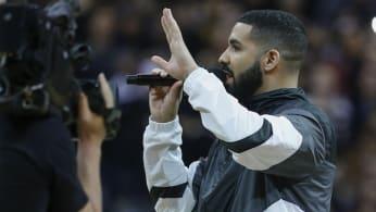 Drake addresses the crowd. Toronto Raptors vs Houston Rockets.