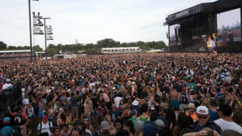 A general view of crowds watching Flume perform on the Samsung stage