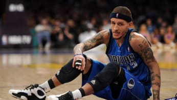 Delonte West gets up from the floor.