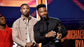 Michael B. Jordan and Ryan Coogler accepting an award for 'Black Panther.'