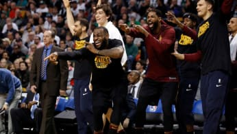 LeBron James and the Cavs bench.