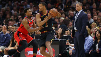 Rodney Hood #1 of the Cleveland Cavaliers is defended by Kyle Lowry.