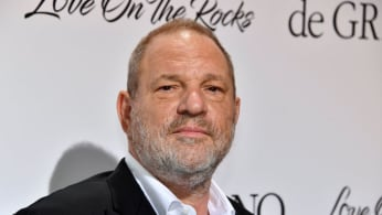 Harvey Weinstein poses during a photocall as he arrives to attend the De Grisogono Party.