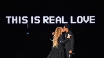 Beyonce and Jay Z during the 'On the Run II' Tour at Hampden Park