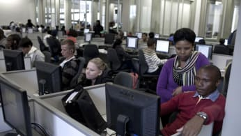 Students use the library at the University of the Free State
