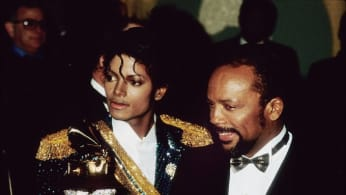 Michael Jackson and Quincy Jones at the Grammys in 1984.