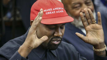 Rapper Kanye West speaks during a meeting with U.S. President Donald Trump.