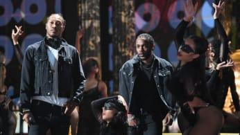 Future (L) and Kendrick Lamar perform onstage at 2017 BET Awards