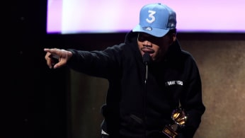Chance the Rapper accepts Grammy award at pre-ceremony.