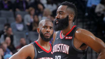 James Harden #13 and Chris Paul #3 of the Houston Rockets