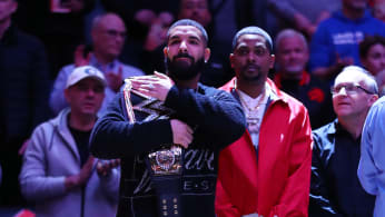 Drake during the national anthems prior to an NBA game between Bucks and Raptors.