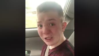 Keaton Jones speaks to camera about being bullied.