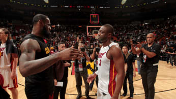 LeBron James #23 of the Cleveland Cavaliers and Dwyane Wade #3 of the Miami Heat.