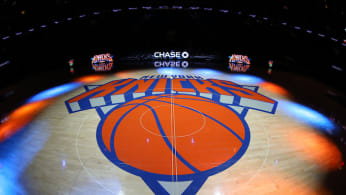 A general view of the New York Knicks logo before a game.