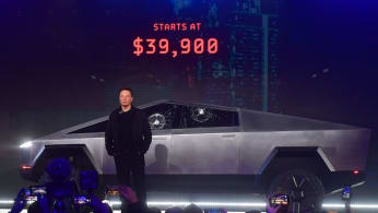 Tesla co-founder and CEO Elon Musk unveils all-electric battery-powered Tesla's Cybertruck.
