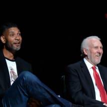 Retired NBA Legend Tim Duncan and Head Coach Gregg Popovich