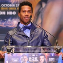 Patrick Day addresses members of the media at the Jacobs vs Derevyanchenko press conference.