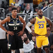 Giannis Antetokounmpo and LeBron James look on during a game.