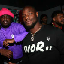 Wale (L) and Le'Veon Bell host the NFL Draft viewing party