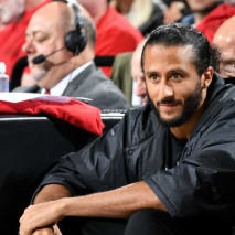 Colin Kaepernick attends Game Four of the Western Conference Finals