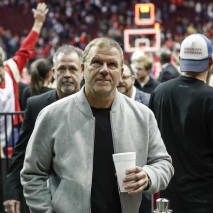 Tilman Fertitta leaves the court after the game against the Phoenix Suns.