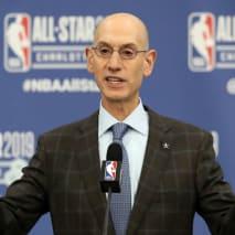 Adam Silver, NBA Commissioner, talks to the media