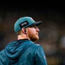 Carson Wentz #11 of the Philadelphia Eagles reacts during the NFC Divisional Playoff