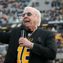 Ric Flair speaks at a Hamilton TigerCats game.