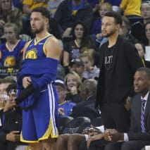 Klay Thompson Steph Curry Nets Warriors 2018