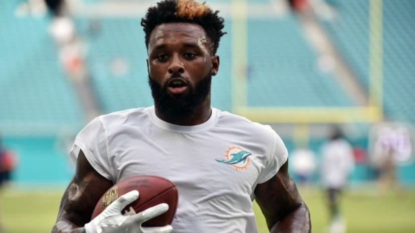 Jarvis Landry on the field before a Dolphins game.